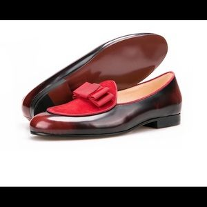 Other - Men Wine Red Leather Bow Tie Loafers Shoes